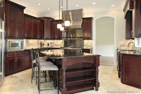 kitchen cabinets traditional dark wood cherry color 045 s31716838 island luxury