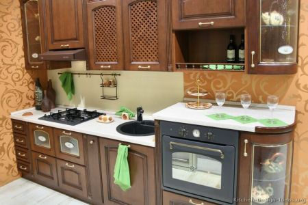 kitchen cabinets traditional dark wood walnut color 027 s2510264 small kitchen curved retro