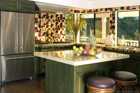 kitchen cabinets traditional green 002 s2638686 island seat black red yellow tile splash