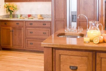 kitchen cabinets traditional light wood 124 cp008f shaker island sink panelized fridge