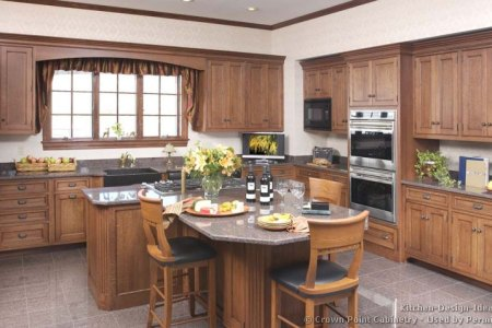 kitchen cabinets traditional medium wood brown 054 cp029a country island table apron sink