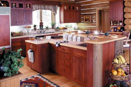 kitchen cabinets traditional red 003 cp508a early american log home island sink valence