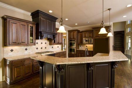 kitchen cabinets traditional two tone 042a s21005167 medium dark wood hood island luxury