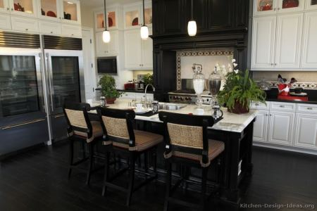 kitchen cabinets traditional two tone 104 s32657134x2 black white wood hood island luxury