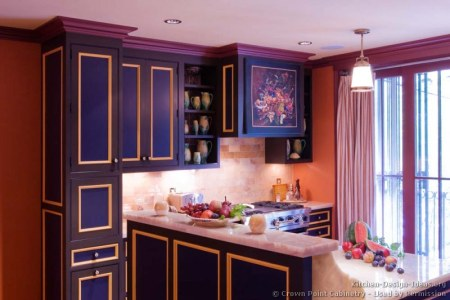 kitchen cabinets traditional two tone 147 cp055b blue purple yellow island wood hood marble