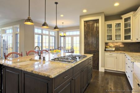 kitchen cabinets traditional two tone 152 s50872444x2 white dark wood floor island pendant