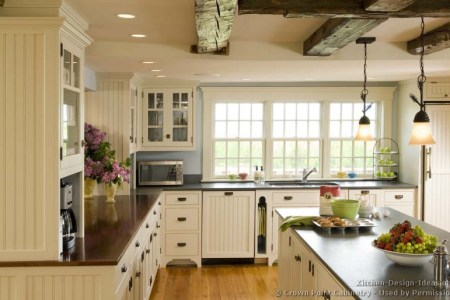 kitchen cabinets traditional white 119 cp009c island ceiling beam wood floor pendant lights