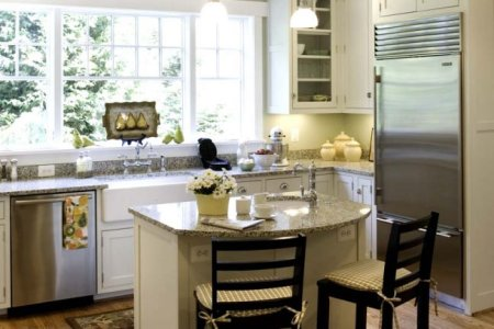 kitchen cabinets traditional white 125 cp026b island seats built in refrigerator wood floor