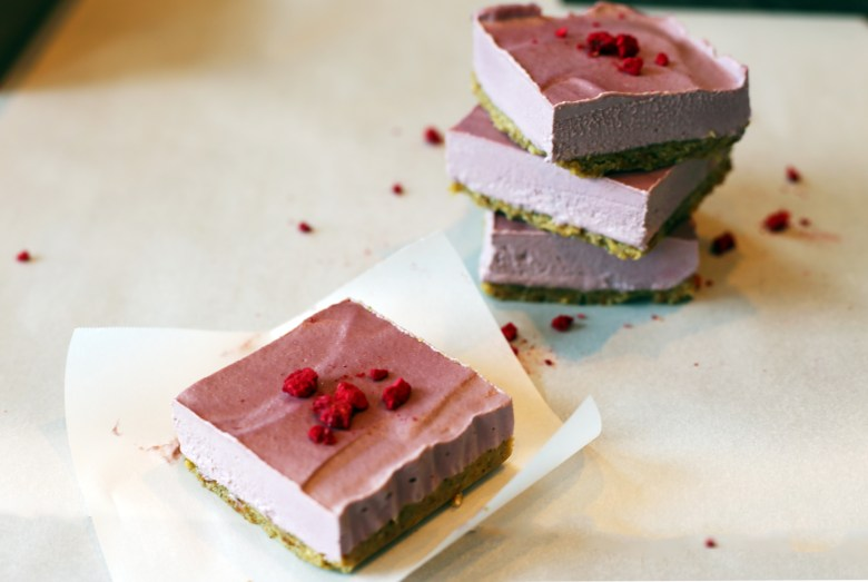 raw-vegan-raspberry-cheesecake-bars-stack