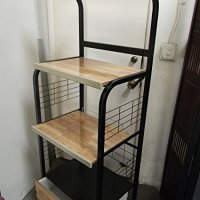 Kitchen Microwave Cart With Electric Socket Black Finish