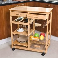 SoBuy Wooden Kitchen Storage Cart with Shelves & Drawers,Hostess Trolley,Kitchen Storage Rack FKW04-N, natural,67x 37 x 75cm