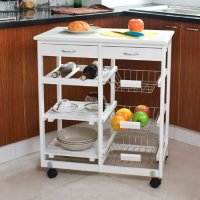 SoBuy Wooden Kitchen Storage Cart with Shelves & Drawers,Hostess Trolley,Kitchen Storage Rack FKW04-W,white,67cm(26.4in)x 37cm(14.5in)x 75cm(29.5in)
