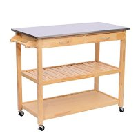 "HomCom 44"" Stainless Steel Top Rolling Kitchen Trolley Cart"