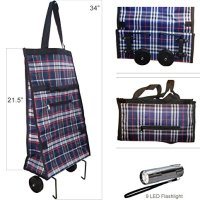 Portable Shopping Bag Foldable Luggage Cart Travel Trolley Bag 2 Wheels and 9 LED Flashlight