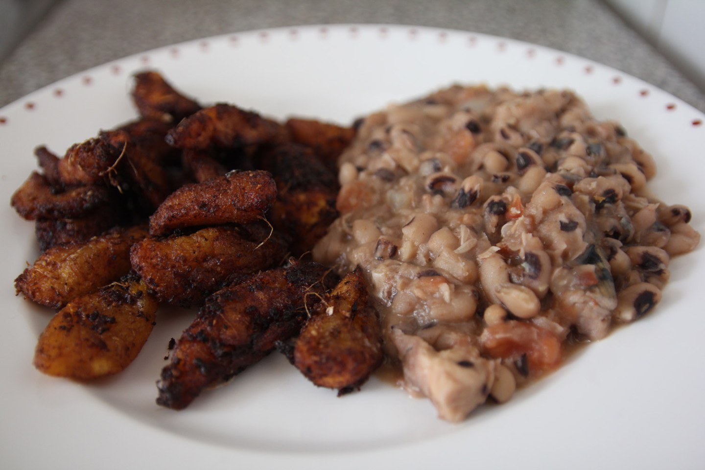 Ghana bean stew plantains