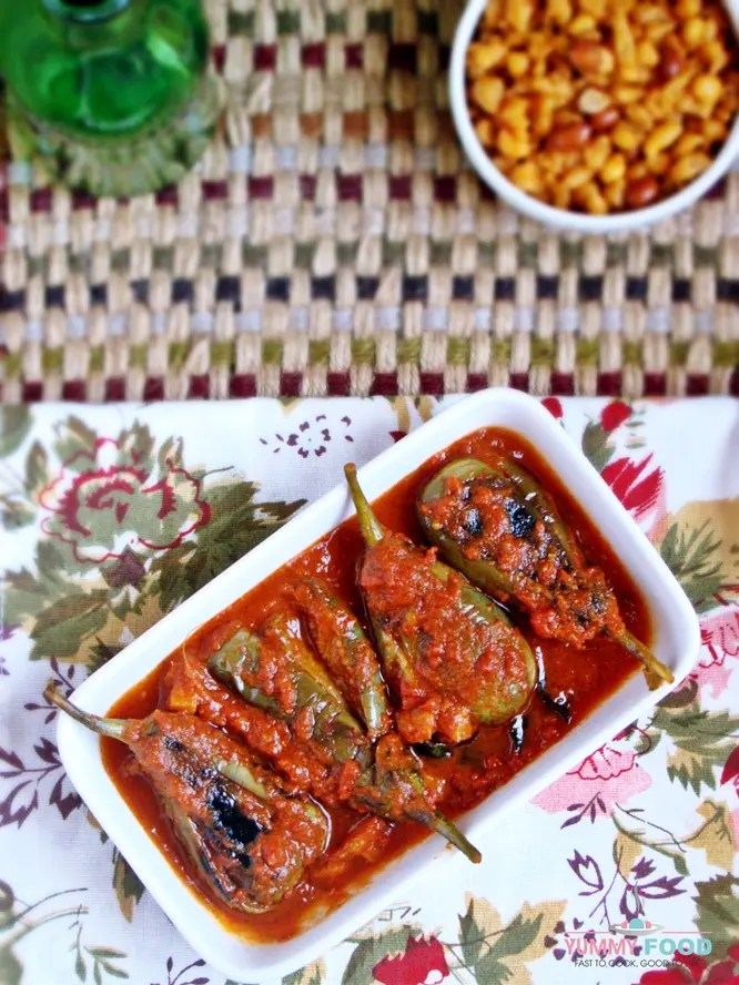 Green Brinjals in Tomato Gravy