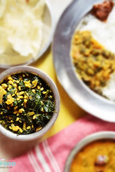 Drumstick Leaves Poriyal with Mung Dal