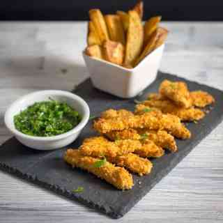 Crispy Chicken Strips with Chimichurri Dip