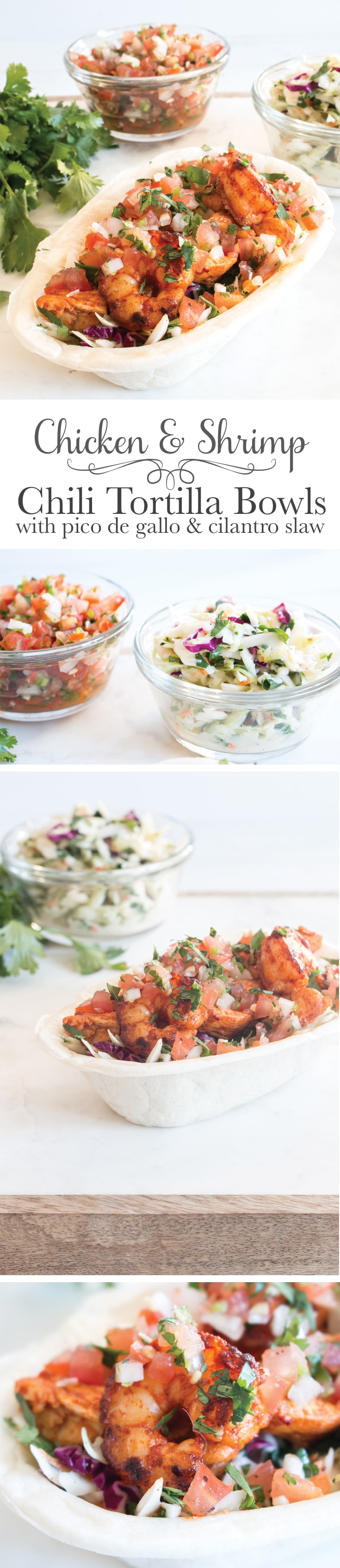 These chili chicken and shrimp tortilla bowls with cilantro slaw and ...