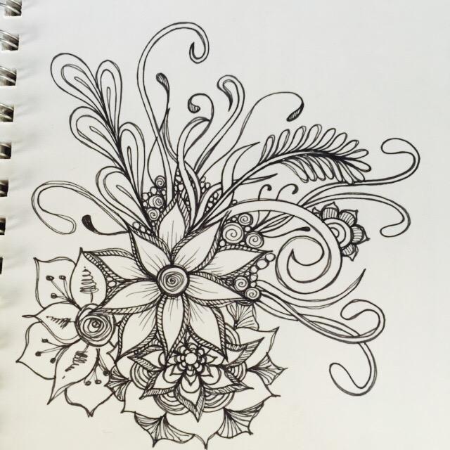 sketchbook quickie floral doodles kitskorner