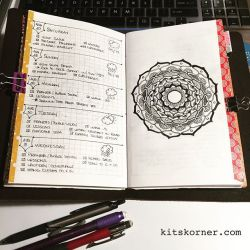 InstaDiary : Aug 27 – Aug 31 Daily-Weekly Spread in my Mandala Journal, More black