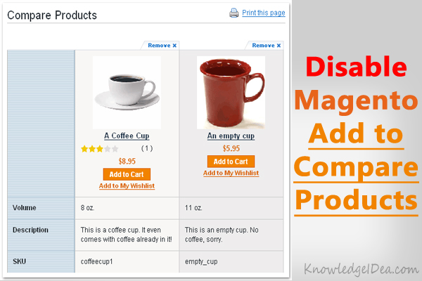 How to Disable Magento Add to Compare Products