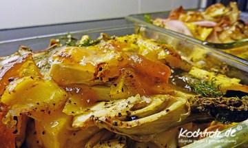 Fenchelgemüse aus dem Rohr mit Mango, fleischig oder vegetarisch