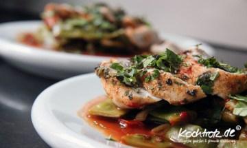 Hähnchenbrust mit grünen Bohnen und Tomaten aus dem Ofen (ohne Öl)