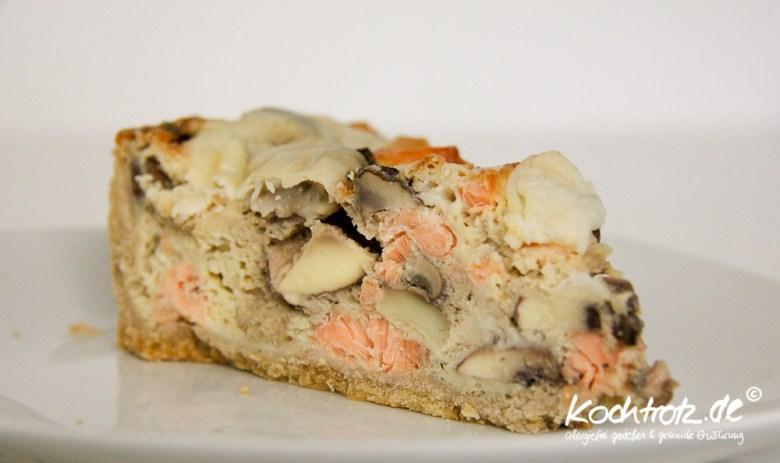 Champignon-Lachs-Ziegenkäse-Kuchen Party- und Rotationsernährungs-tauglich