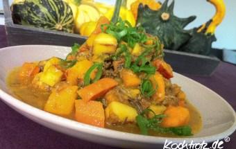 Tafelspitz-Salat mit geröstetem Kürbis, Karotte und Pastinake