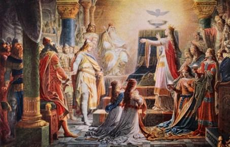Das Wunder des heiligen Grals: Lohengrin wird durch den heiligen Gral zum Kampf für Elsa auserkoren.