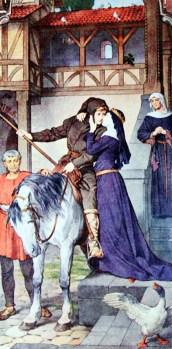In Parzival erwacht der Tatendrang. Er nimmt Abschied von seiner Mutter Herzoleid. Mit schlechtem Gewand und klapprigem Pferd macht er sich auf den Weg.