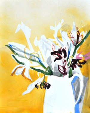 Flowers in white Vase | Acrylic on paper | 70x80 cm | 500€