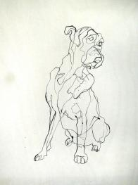 Boxer Ink on Wood