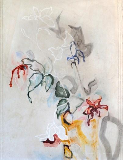 Flowers Sail Yellow Vase |Acrylic on sailcloth | 91x123 cm | Steel frame top&bottom | 1500€