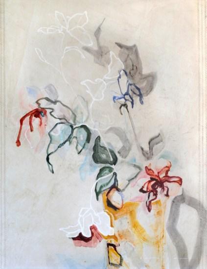 Flowers Sail Yellow Vase |Acrylic on sailcloth | 91x123 cm | Steel frame top&bottom | 1300€
