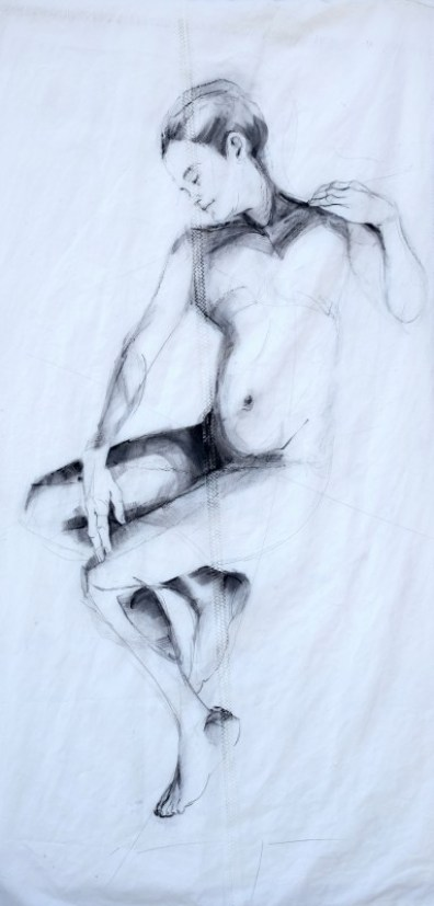 Woman Model Sail 01 | Acrylic/charcoal on sailcloth | 90x200 cm | Gallery Guangzhou CN