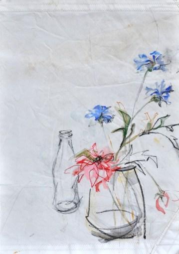 Flowers Sail Bottle |Acrylic on sailcloth | 88x137 cm | Steel frame top&bottom | 700€