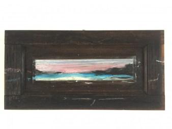 Famara sunset on wood