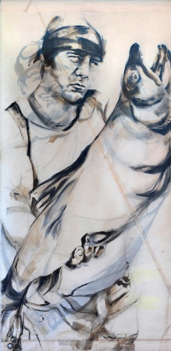 Fishermen Double sided 02a | Acrylic on sailcloth | 90x187 cm |850€