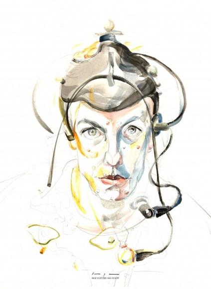 SP with VR helmet | Acrylic on paper | 50x70 cm | 795€