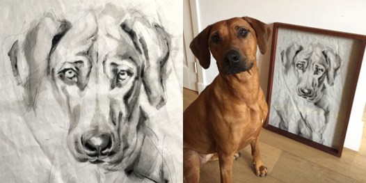Kees Dog with Portrait