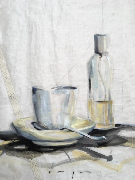 Still life | Spray bottle, cup and spoon | oil paint on sail | 50x70 cm |1250€ | Gallery Guangzhou CN
