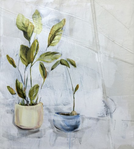 Two plants in pots | acrylic on sailcloth | 70x90 cm | 1250€