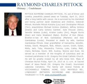Ray Pittock Obit