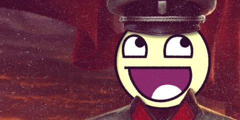 Das Originalbild ist ein Wolfenstein-Artwork. Um der Marke nicht zu schaden - die Spiele sind schließlich gut -, wurden die entsprechenden Symbole auf der Uniform entfernt.