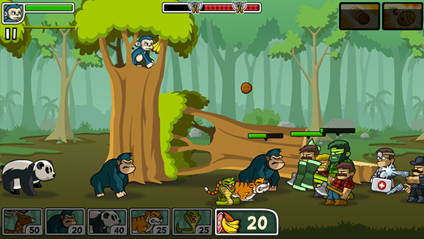 side scroller defense game for mobile lumberwhack in widescreen action