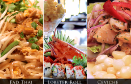 Pad Thai, Lobster Roll & Peruvian Ceviche