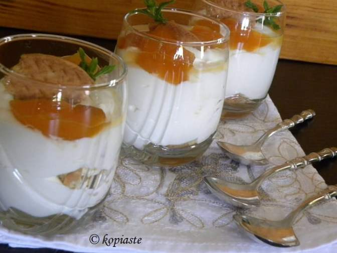 giaourtoglyko with compote and biscuit