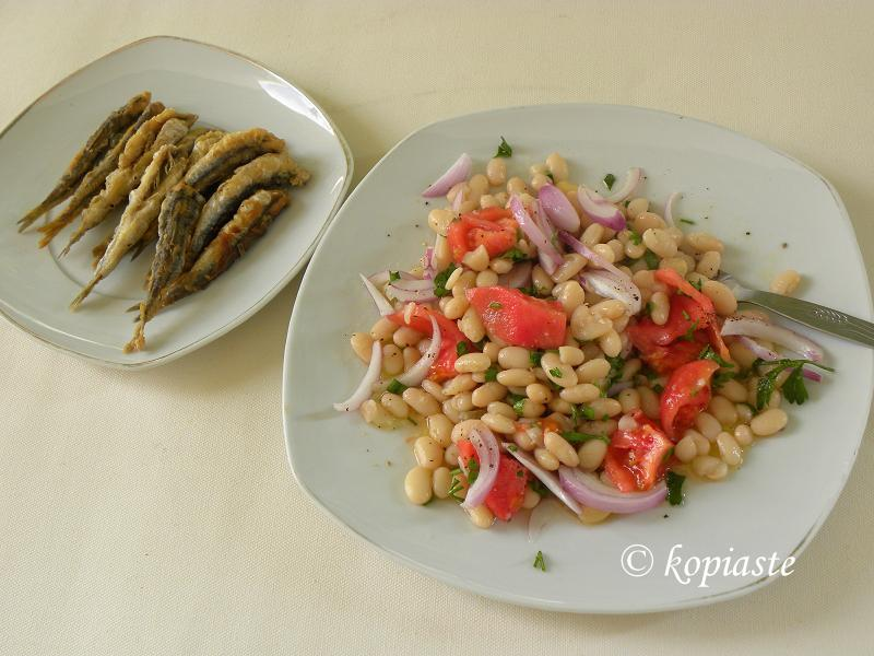 White beans salad. with fried anchovies